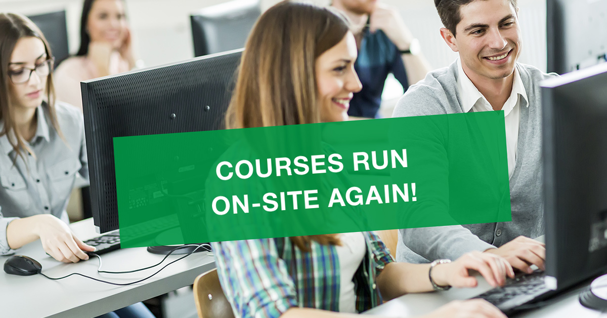 Courses run on-site again! Testing center open from Monday 24th May